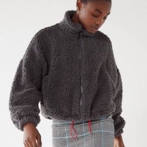 Urban Outfitters Willow Cropped Fuzzy Jacket Gray